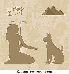 神, ねこ, グランジ, 背景, エジプト人