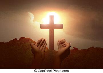 神, 上げられた手, 祈ること, 人間
