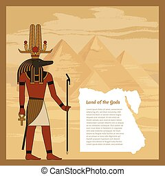 神, 古代, エジプト人, ベクトル, staff., 頭, 人, illustration., sobek., ankh., 保有物, bird.