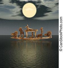 神, 彫刻, ボート, エジプト人