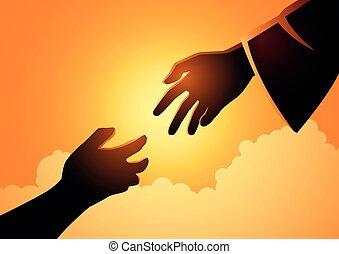 神, 手が手を伸ばす, 人間