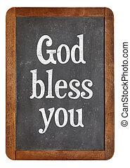 神, 祝福しなさい, あなた, 上に, 黒板