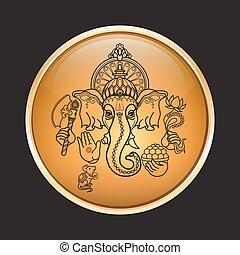 神, 種族, ganesha., vector., ヒンズー教信徒, 引かれる, 手, style.