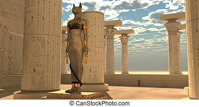神, bastet, エジプト人, 像