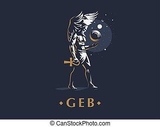 神, earth., geb, vector., エジプト人