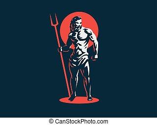 神, hades, emblem., ベクトル, pluto., ∥あるいは∥