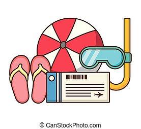 票, 水下通气管, 涼鞋, 假期, 球