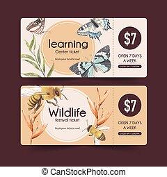 票, 蝴蝶, 昆虫, 鸟, 蜜峰, illustration., 设计, watercolor