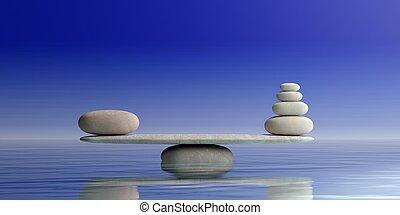 禅, 石, スケール, 上に, 青, バックグラウンド。, 3d, イラスト
