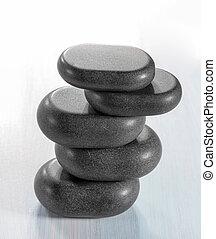 禅, 石, 上に, a, 木製である, 背景