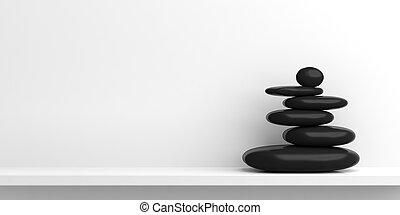 禅, 石, 上に, a, 白, shelf., 3d, イラスト
