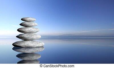 禅, 石, 山, から, 大きい, へ, 小さい, 中に, 水, ∥で∥, 青い空, そして, 平和である, 風景, バックグラウンド。