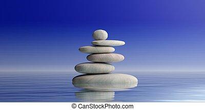禅, 石, 山, 上に, 青, バックグラウンド。, 3d, イラスト