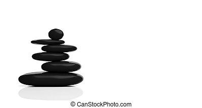 禅, 石, 山, 白, バックグラウンド。, 3d, イラスト
