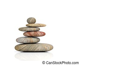 禅, 石, 白, バックグラウンド。, 3d, イラスト