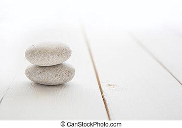 禅, 石, 白, 木製である, バックグラウンド。