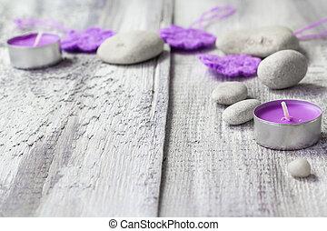 禅, 石, 芳香がする, 蝋燭, 木製である, 背景