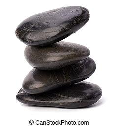 禅, 石, 隔離された, 白, 背景