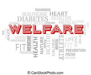 福利, 詞, 意味著, 好, 以及, 健康