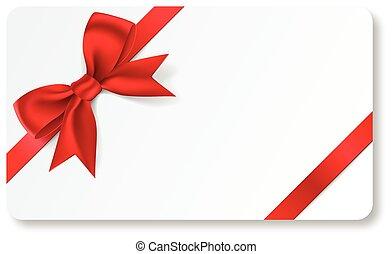 禮物卡片, 由于, 紅的緞帶