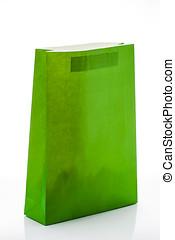 禮物袋子, ......的, 綠色, 紙, 被隔离, 在懷特上