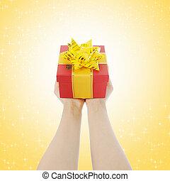 禮物, 在, the, 手, ......的, 婦女