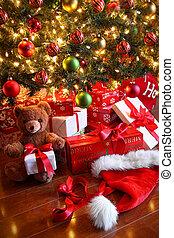 禮物, 樹, 聖誕節, 在下面