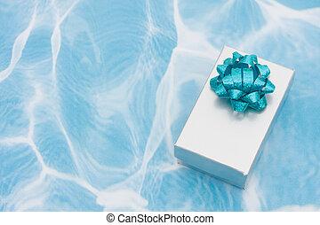 禮物, 液體, 銀, 背景, 弓