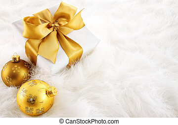禮物, 被 ribboned, 裝飾品, 金, 聖誕節