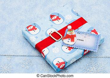 禮物, 雪花, 標簽, 背景, 空白, 聖誕節禮物