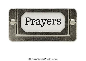 禱告, 文件抽屜, 標簽
