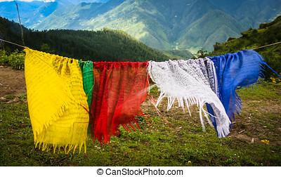 禱告, 旗, 在, 不丹
