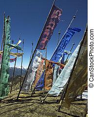 禱告, 旗, -, 王國, ......的, 不丹