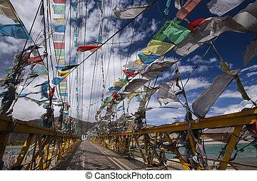 禱告, 旗, -, 西藏, -, 瓷器