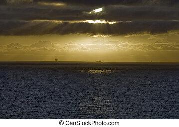 离岸的平台, 在, 傍晚, 北海, 挪威