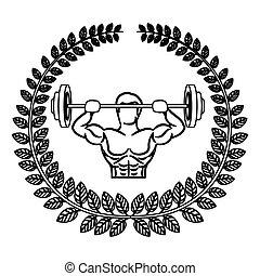 离开, 盘, 重量, 肌肉, 拱, 轮廓, 举起, 人