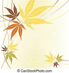 离开, 秋季, vector., 落下, 或者, 枫树