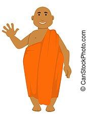 禿頭, 僧侶, 手, 招手, 印第安語, 桔子長袍, 人
