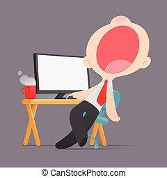 私心がない, 怠け者である, ビジネスマン, モデル, 退屈すること, 漫画, イラスト, あくび, 仕事場, ベクトル, ルーチン, 半分, 眠ったままで, 退屈させられた, 人