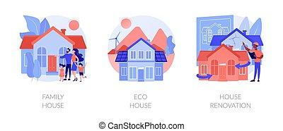 私用, サービス, ベクトル, 特性, 抽象的, 建設, 概念, illustrations.