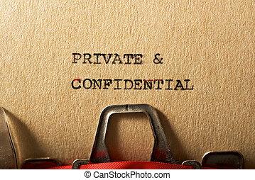 私用, テキスト, &, 機密