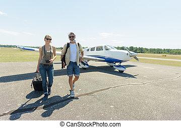 私用, 出発, 若い, 豊富, 恋人, 飛行機
