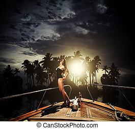 私用, 女, ヨット, 若い, 彼女