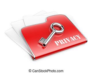 私用, 情報, concept., -, フォルダー, プライバシー