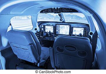 私用, 飛行, 小さい, 操縦室, シミュレーター, airplanes.
