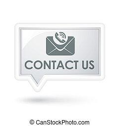 私達に連絡しなさい, ∥で∥, メール, アイコン, 上に, a, スピーチ泡