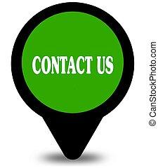 私達に連絡しなさい, 上に, 緑, 位置, ポインター, グラフィック