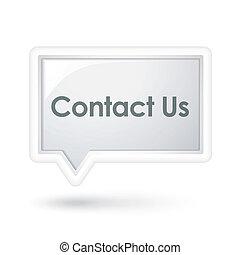 私達に連絡しなさい, 言葉, 上に, a, スピーチ泡