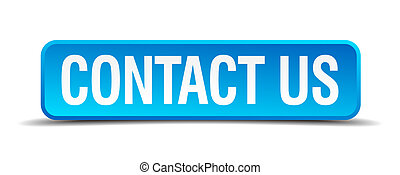 私達に連絡しなさい, 青, 3d, 現実的, 広場, 隔離された, ボタン