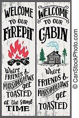 私達の, 歓迎, firepit, キャビン, 印